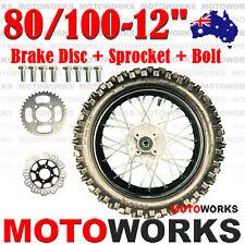 "80/100 - 12"" Inch Rear Back Wheel + Sprocket + Disc Bolt Dirt Pit PRO Trail Bike"