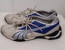 Puma mens leather running racing shoes gray blue lace sneakers size 8