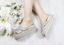 Ladies Womens Slip on Diamante Flatform Sliders Slippers Mules Summer Shoes Size Silver Uk6 Eu39