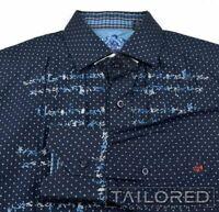 ROBERT GRAHAM Blue Polka Dot EBROIDERED 100% Cotton Casual Dress Shirt - MEDIUM