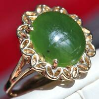 ELBE 10k yellow gold ring 4.5ct imperial green jade solitaire sz 9 vintage 5.4gr