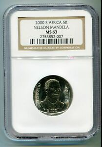 NGC MS 63 South Africa Year 2000 5R Nelson Mandela R5 Smiley Madiba Coin
