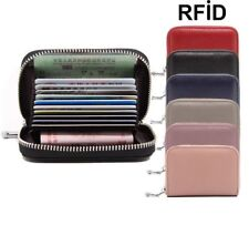 Zipper Wallet Men Genuine Leather Credit Card Holder Blocking Thin Mini Pocket