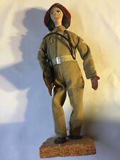 Vintage Handmade by Sabra Figure Doll Folk Art made in ISRAEL Israeli Soldier