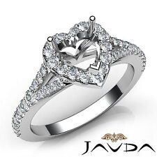 Halo Pave Setting Heart Diamond Semi Mount Engagement Ring 18k White Gold 0.5Ct