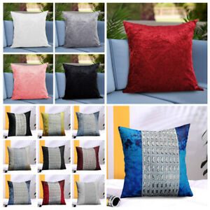 """Sparkle Cushion Cover & Filled Cushions 18"""" x 18"""" Crushed Velvet Sofa Pillows"""