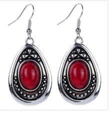 Fashion Watrdrop Carved Red Turquoise Silver Hook Earring Women Jewelry Women