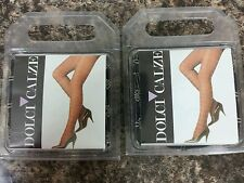 2 Pairs Dolci Calze Black Patterned Tights. Medium. New in Boxes.