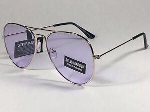 New Steve Madden Aviator Sunglasses Pale Gold Metal Light Purple Lens SM482101