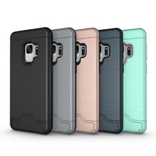 For Samsung Galaxy S9 S9 Plus Armor Hybrid Kickstand Credit Card Pocket Case