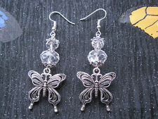 ART NOVEAU BUTTERFLY CHARM SP Drop Earrings Clear Crystal Glass Beads Gift Bag