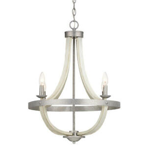 Progress Lighting Keowee 4-Light Galvanized Chandelier with Antique White Wood