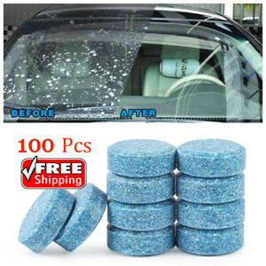100 Pcs Car Wind shield Glass Cleaner Car Solid Tablets Wiper Auto 10L water