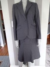 brooks brothers SUIT JACKET BLAZER,skirt wool charcoal SZ 8  stripes   za