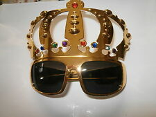 GOLD CROWN NOVELETY GLASSES- ELVIS FANCY DRESS- ROCK N ROLL- ROYAL PARTY