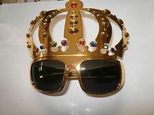 GOLD CROWN NOVELETY GLASSES- ELVIS FANCY DRESS- ROCK N ROLL- ROYAL PARTY