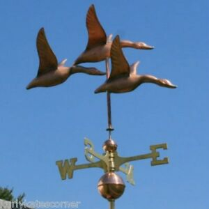 3 COPPER GEESE WEATHERVANE WITH COPPER BALLS AND BRASS DIRECTIONALS #384
