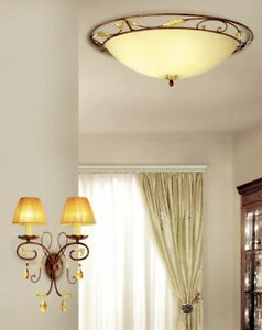 Wall Light Classic Metal Crystal And Lampshade Amber