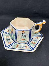 Antique HENRIOT QUIMPER Cup & Saucer FRANCE