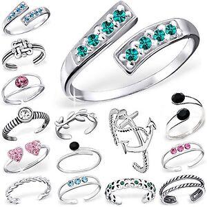 ZEHENRING Kristall Herz Blume Libelle Ring 925 Echt Silber Zehring viele Motive