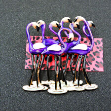 Flamingos Charm Animal Brooch Pin Gift New Betsey Johnson Purple Enamel Cute