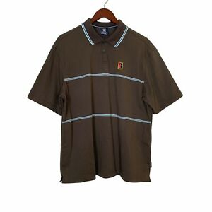 Rare Vintage NIKE Alpha Projects Polo Shirt Tennis- Brown- Men's size M
