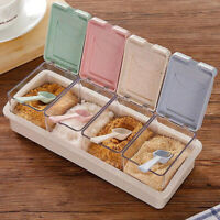 Seasoning Storage Box with Spoon Condiment Jars Storage Spice Containers