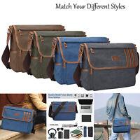 """14"""" Vintage Canvas Messenger Laptop Bag Satchel Shoulder Handbag School Travel"""
