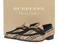 NEW BURBERRY LADIES CHECK CANVAS BLACK LEATHER CHAIN LOAFERS SHOES 40/US 10