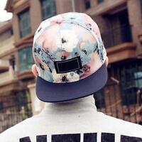 Ball Cap fille gar?on Snapback Hip Hop réglable Kpop Danseuse Hat Floral bleu EH