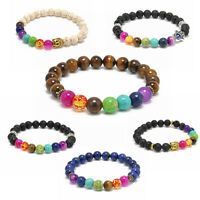 Fashion 7 Stones Mens Women's Chakra Healing Reiki Prayer Beads Bracelet Jewelry