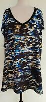 REBEL WILSON & ANGELS Black/White/Blue/Mustard Printed Front Panel Top Size 2X