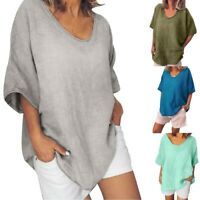 Womens Casual Solid O-Neck Short Sleeves Plus Size Summer Top T-Shirt Blouse AU