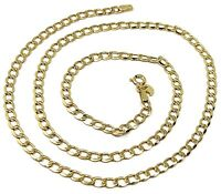 """9K GOLD GOURMETTE CUBAN CURB LINKS FLAT CHAIN 4mm, 60cm, 24"""", BRIGHT NECKLACE"""