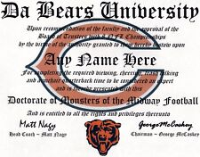 CHICAGO BEARS, FOOTBALL  FAN ~ CERTIFICATE ~ MAN CAVE~ GIFT DA BEARS  Great Gift