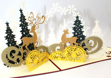 Art New Greeting card 3D Popup Christmas Seasons Card Reindeer Handmade paper 2
