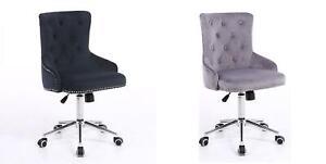 Velvet Office Chair Home Swivel Computer Desk Chair Ergonomic Adjustable Back UK