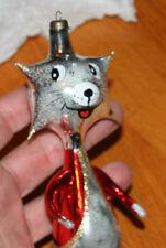 Vintage Italian glass ornament Crazy Cat 1980s kitty alien