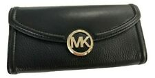 Michael Kors Fulton Mixed Texture Leather Flap Continental Carryall Wallet $198