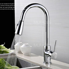 Kitchen Sink Faucet Pull Out Spray Brass Single Handle Nickel Brushed New Modern