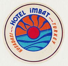 Vintage Valise Autocollant luggage label badge Hôtel Imbat Kusadasi Turkiye Turquie