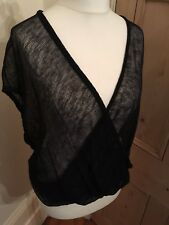 Eileen Fisher Thin Knit Linen Wrap loop Front Top in Black Uk Small (Size 10-12)