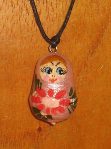 Wood Pendant Russian Doll Matryoshka BLACK RED Babushka ART PARTY favour