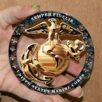 "USMC ENLISTED EGA ROUND EMBLEM MAGNET INSIGNIA 4""x4"" MARINE CORPS SEMPER FI"