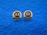 A PAIR OF 15TH, 19TH HUSSARS PLATED METAL & ENAMEL 15MM BLAZER BUTTONS, LB&B