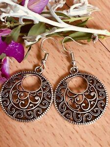 TIBETAN SILVER GYPSY BOHO STYLE VINTAGE ROUND EARRINGS