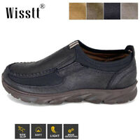 Mens Leather Slip On Shoes Breathable Antiskid Loafers Driving Moccasins Casual
