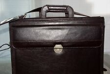 American Tourister Brown Leather Messenger Laptop Carry On Travel Briefcase