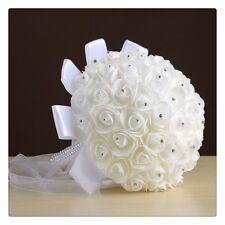 Artificial Rose Beige Flower White Ribbon Holding Flower Bouquet Wedding Decor