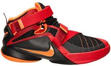 NEW NIKE LEBRON SOLDIER IX 9 GS sz 5Y BLACK RED ORANGE Basketball Shoe Sneaker